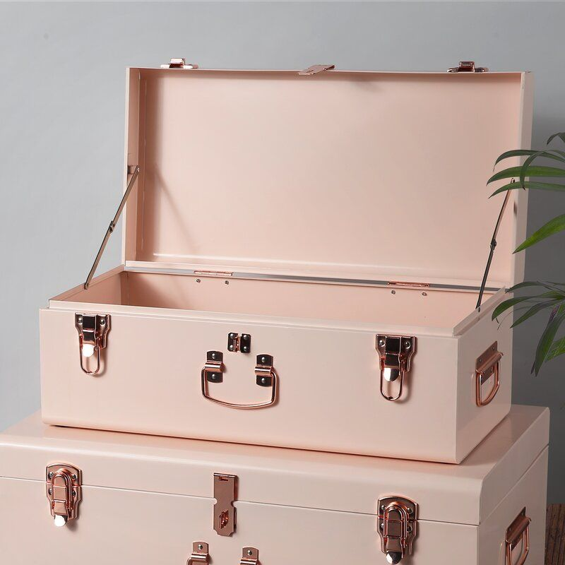 Storage 2 Piece Trunk Set In 2020 | Storage Trunk, Vintage Trunks, Bedroom Storage