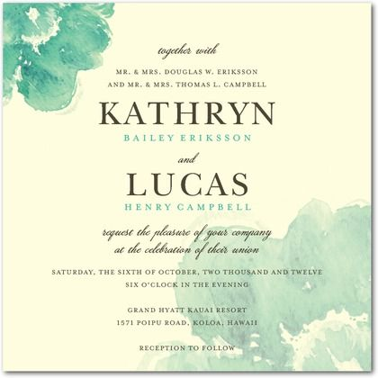 Blooming Watercolor Signature Ecru Wedding Invitations in Bay or