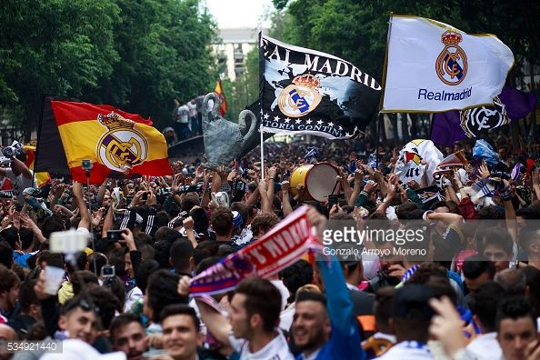 News Photo : Real Madrid ultra fans cheer their team at...