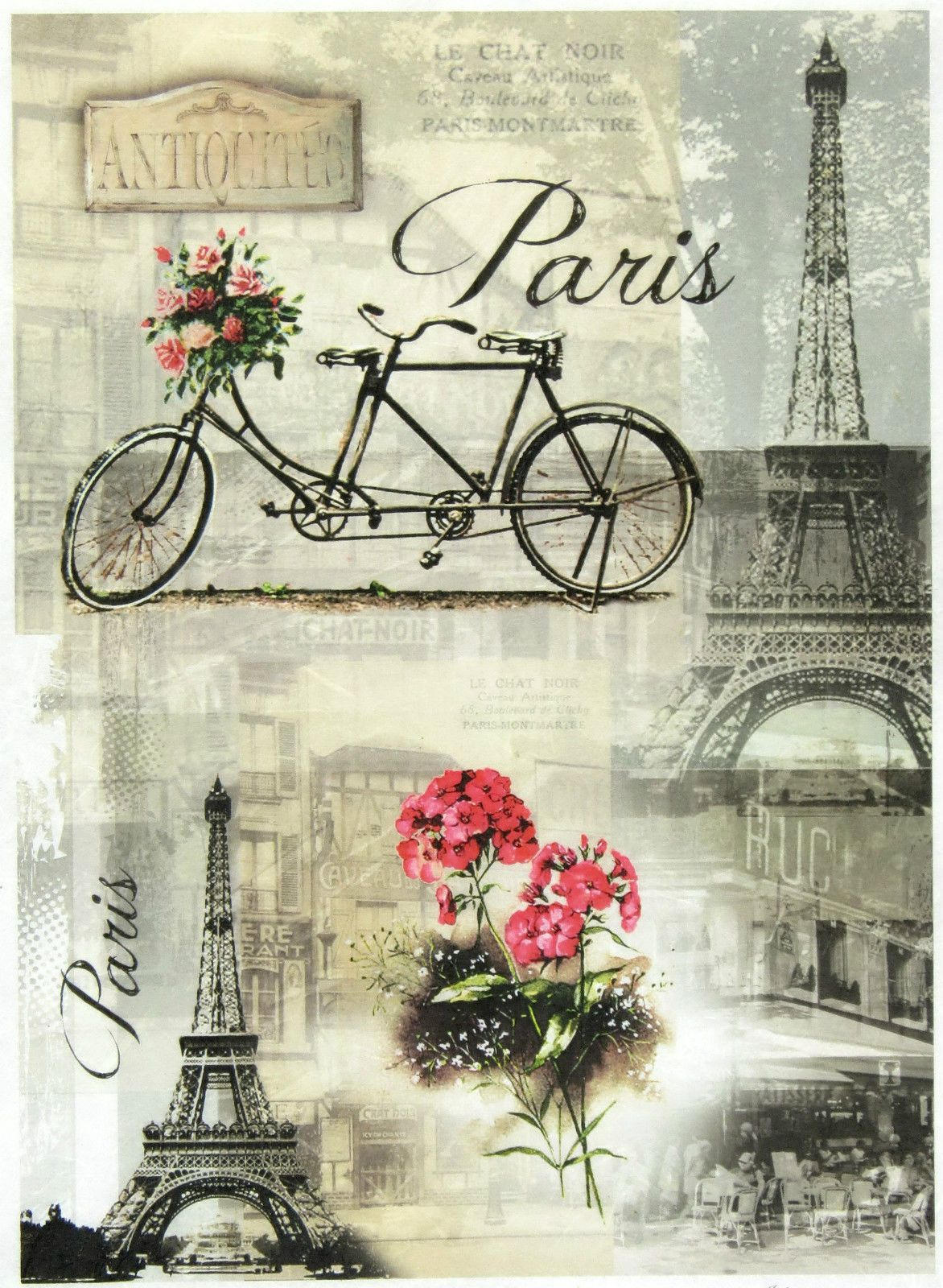 Tour Eiffel Rice Paper for Decoupage Scrapbook Craft Sheet