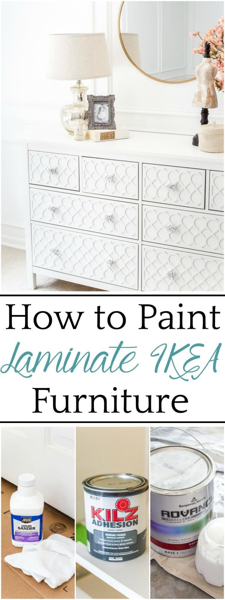 The Trick to Paint Laminate IKEA Furniture - Bless'er House