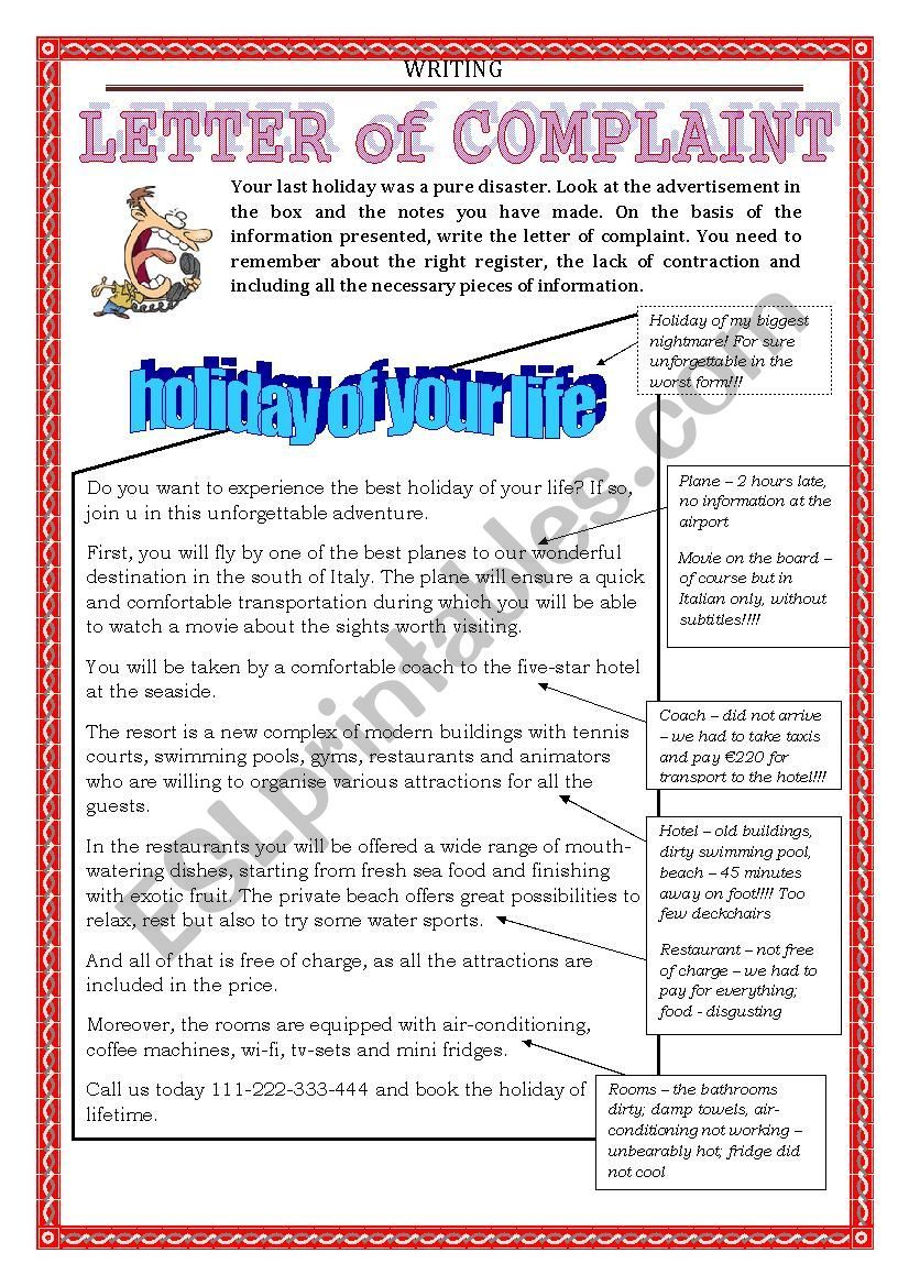 Follow Up To The First Part Of Letter Of Complaint Worksheet This Time A Bit Of Practice Enjoy Essay Writing Skills Teaching Creative Writing Teaching Writing [ 1169 x 826 Pixel ]