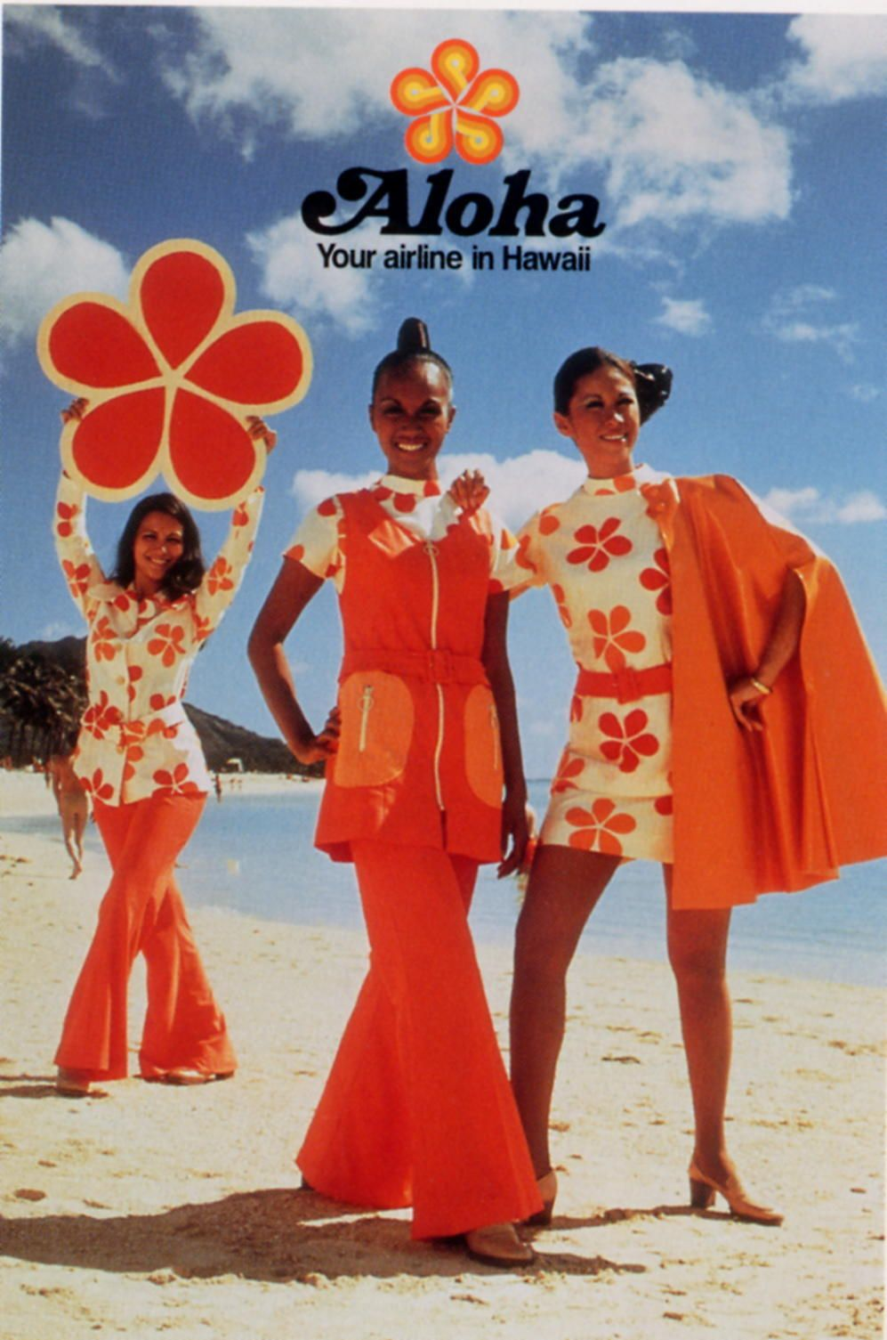 Aloha Airlines 70s Color Photo Print Ad Models Red Orange
