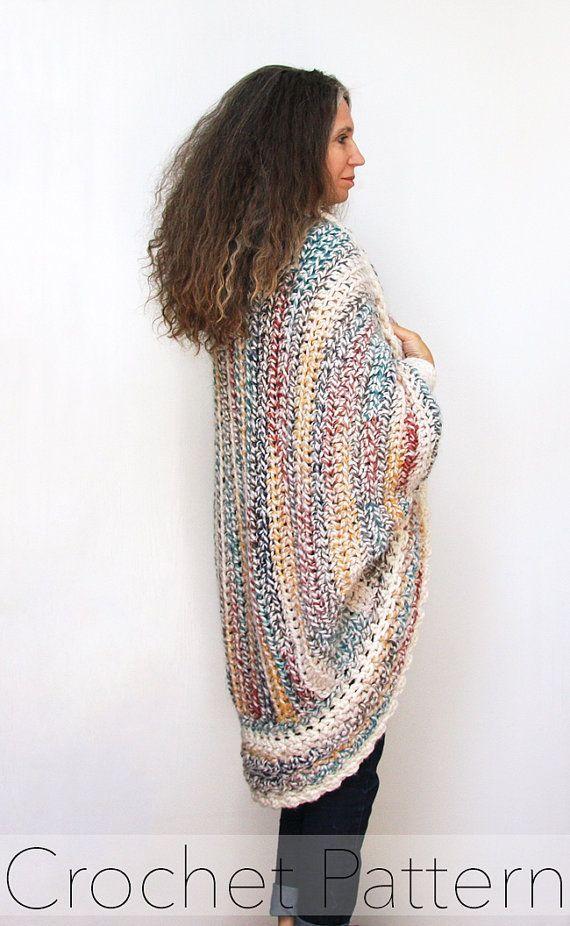 Crochet Shrug Pattern Oversized Cardigan Sweater Chunky