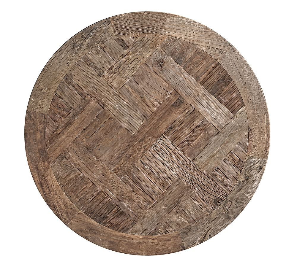 Parquet Reclaimed Wood Round Coffee Table Coffee Table Pottery Barn Round Coffee Table Round Wood Coffee Table