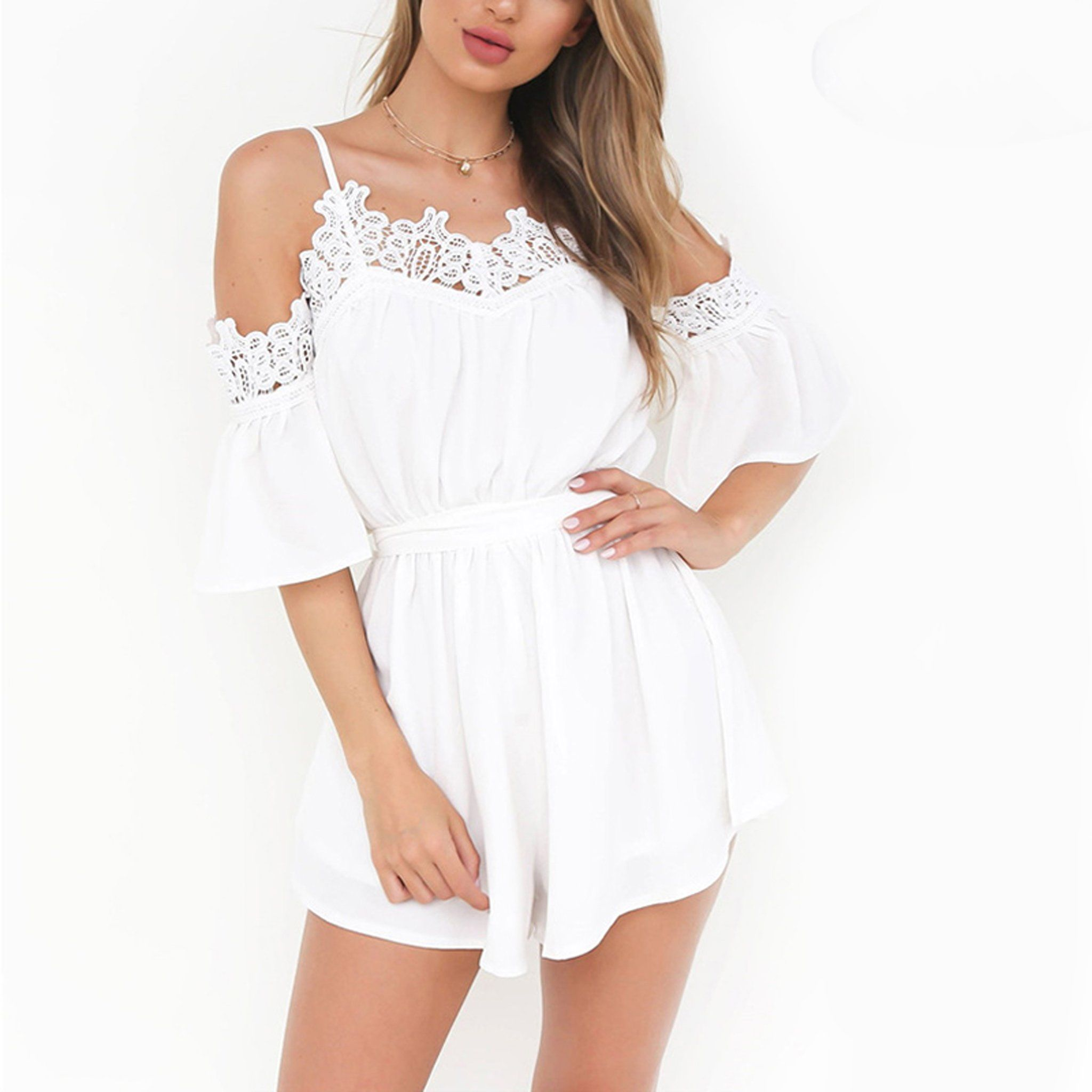 69d69c1f6394 Classy Summer Outfit Ideas for Women - Cute Pretty Romper Playsuit White or  Pink Crotchet Lace - www.GlamantiBeauty.com  outfits  dresses