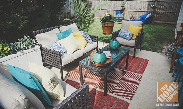 simple patio decorating ideas throw pillows and spray paint patio