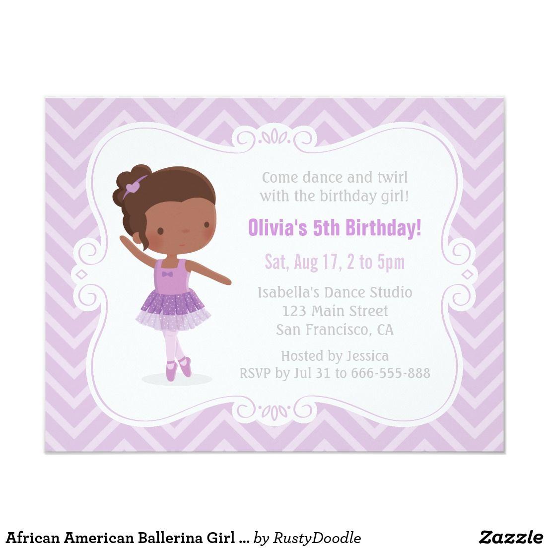 African American Ballerina Girl Birthday Party Invitation ...