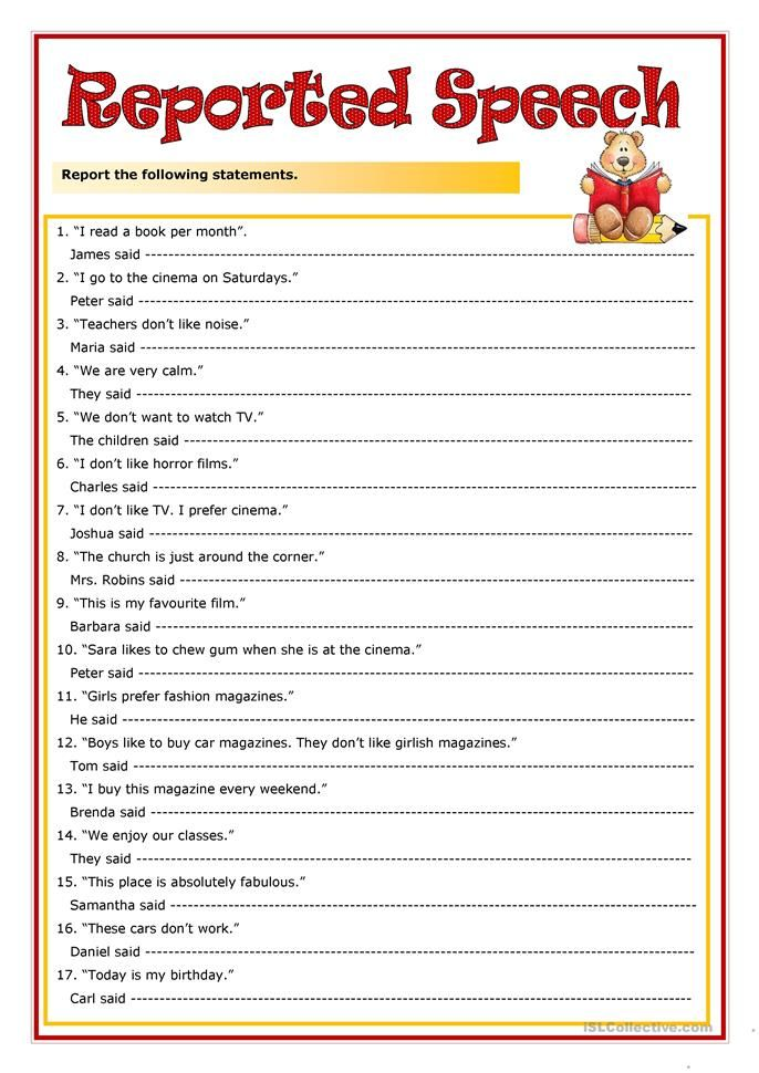 Reported speech interactive and downloadable worksheet