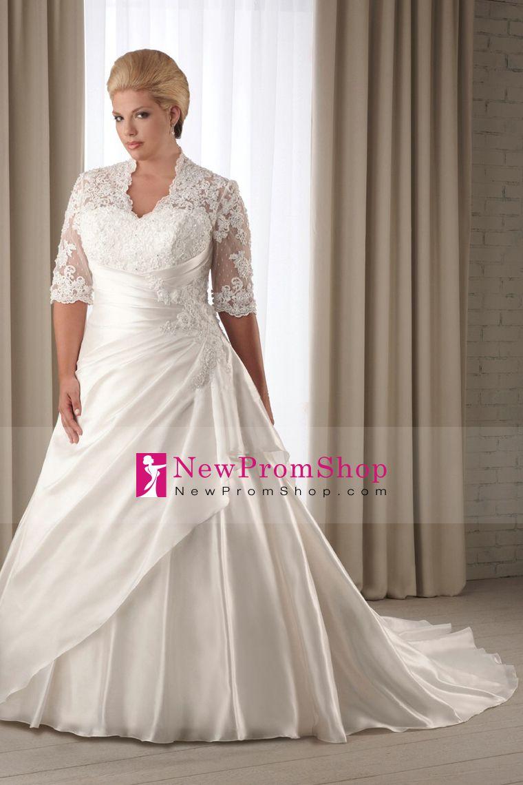 V Neck Wedding Dresses Plus Size court Train Open Back mid-length ...