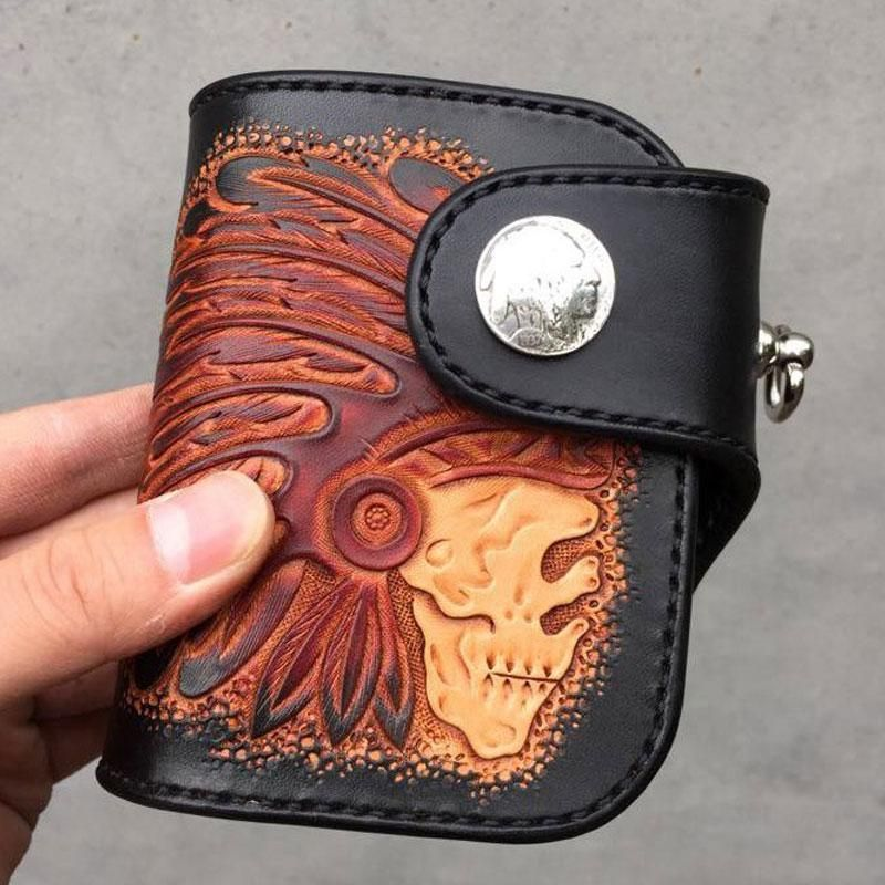 f7239b9d1a899 Handmade Leather Tooled Skull Indian Chief Biker Wallet Mens Cool Short  Chain Wallet Trucker Wallet with Chain