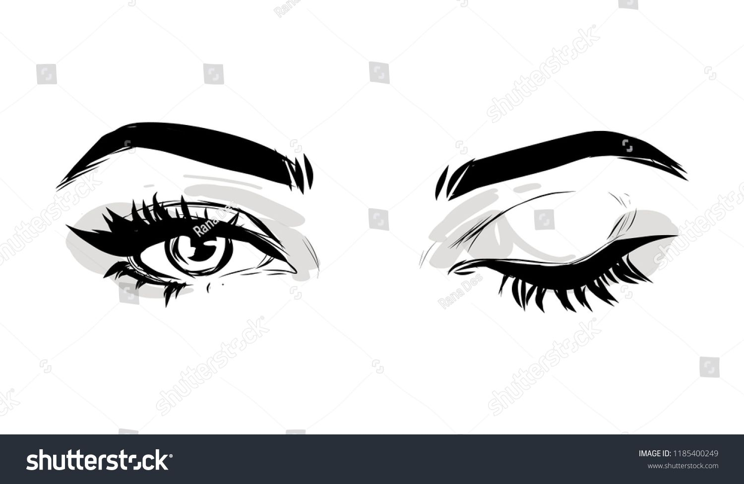 Beautiful woman eyes black and white drawing sketch vector