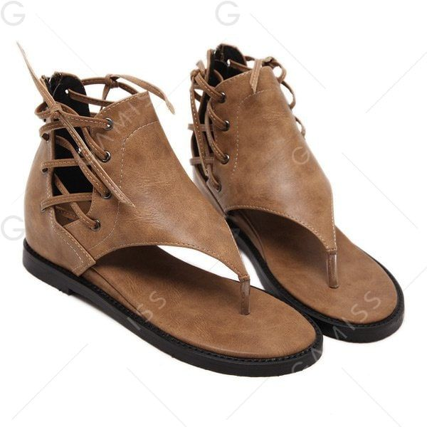 Wedge Heel Zipper Lace Up Sandals - BROWN 39