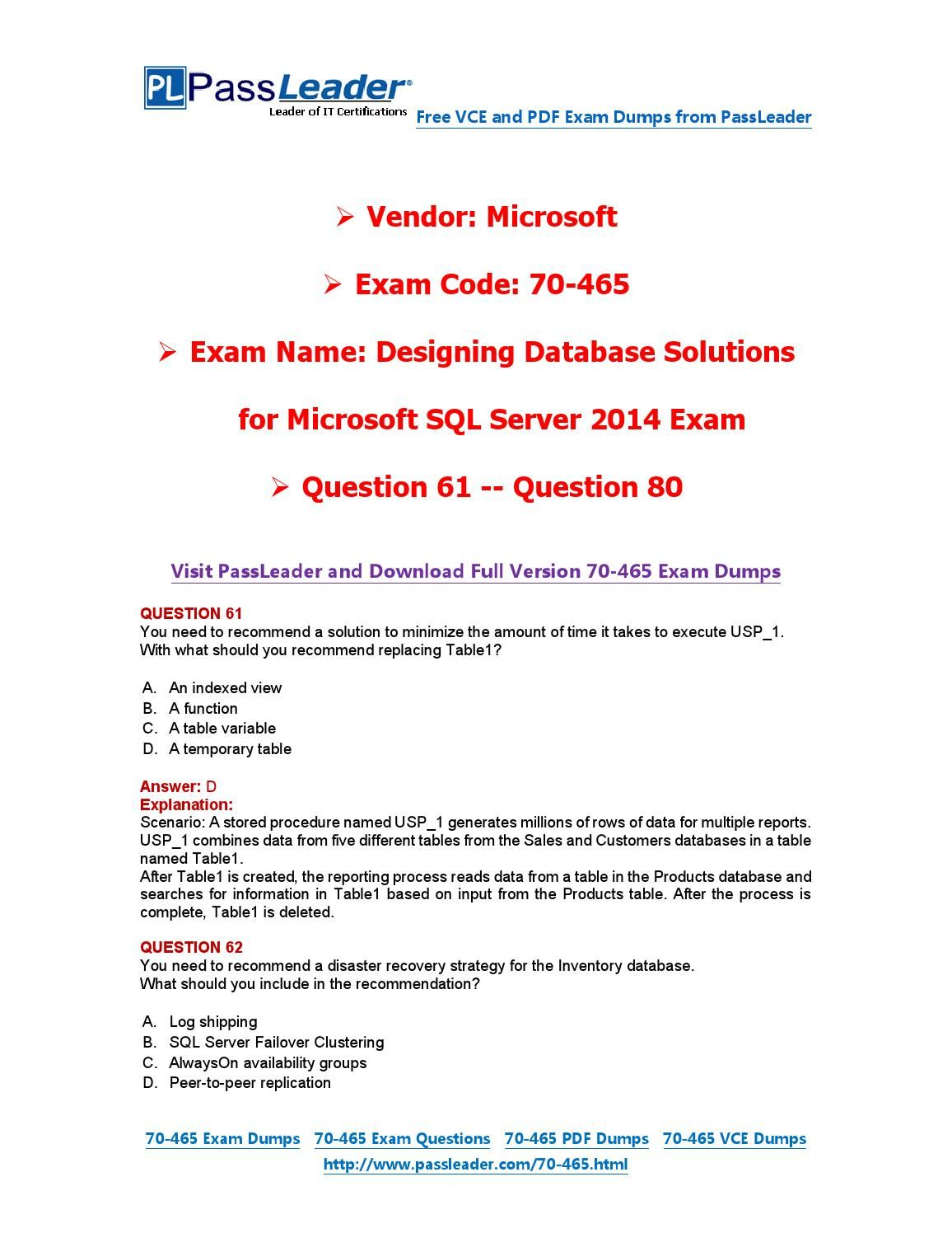 70 465 Exam Dumps With Pdf And Vce Download 61 80 70 465 Exam