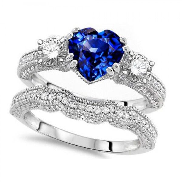 Heart Shaped Blue Diamond Engagement Ring Set Ruby Wedding Rings