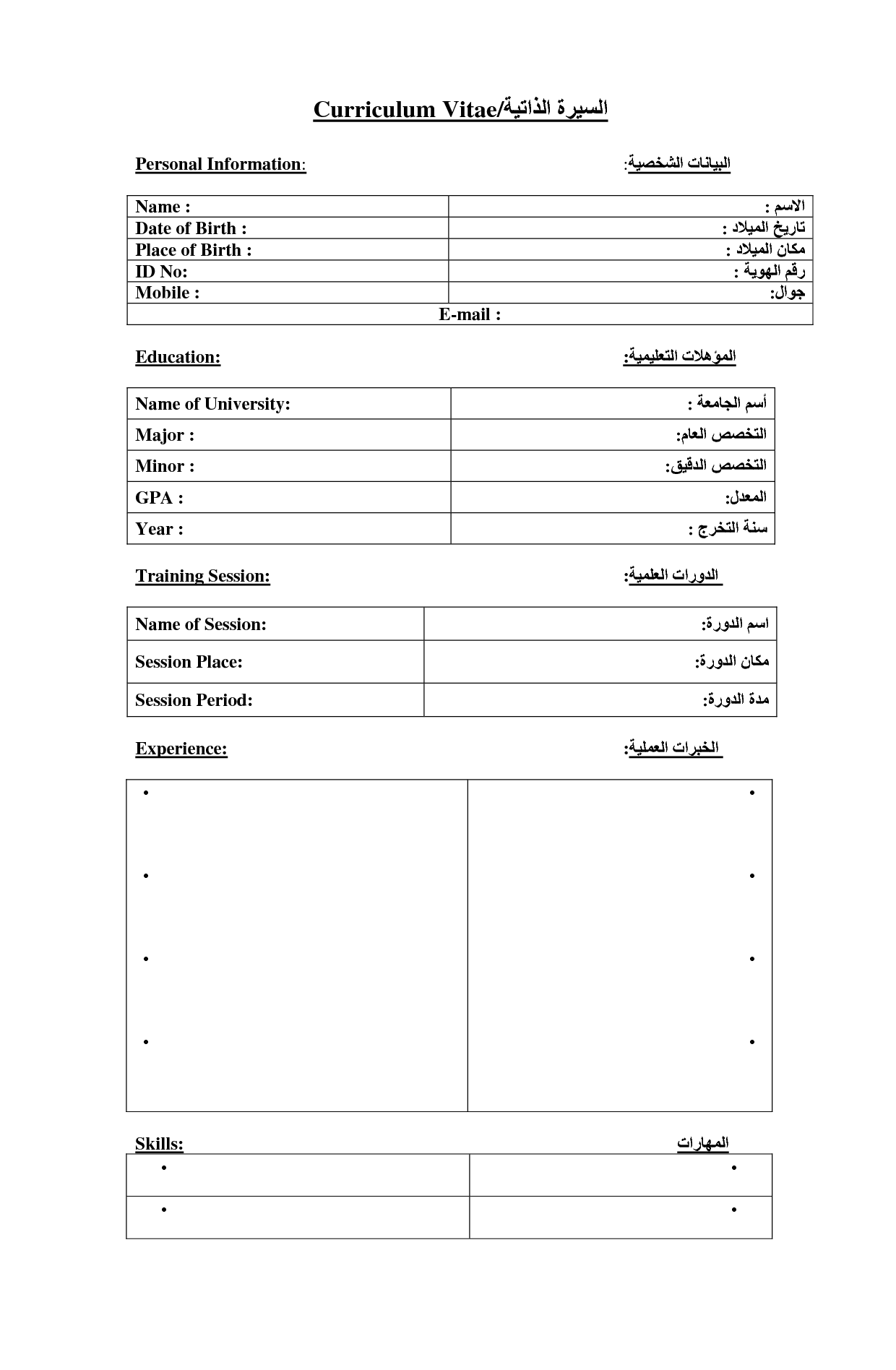 Arabic english cv 001 doc places to visit pinterest english arabic english cv 001 doc yelopaper Images