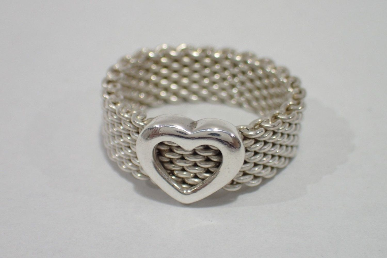 Stunning Sterling Silver Tiffany & Co. Mesh Heart Ring - Size 5.5 - Like New! by Tiffanytreasureshop on Etsy