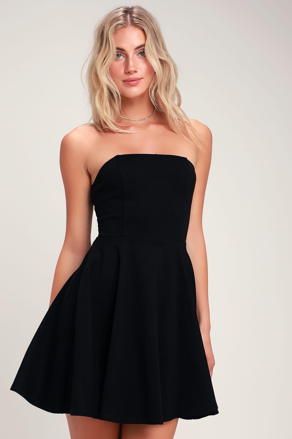 About A Twirl Black Strapless Skater Dress Black Long Sleeve Dress Strapless Dresses Short Cute Black Dress [ 1680 x 1120 Pixel ]