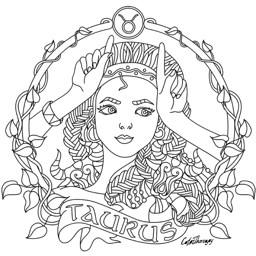 Taurus Zodiac Beauty Colouring Page Coloring Pages Fairy