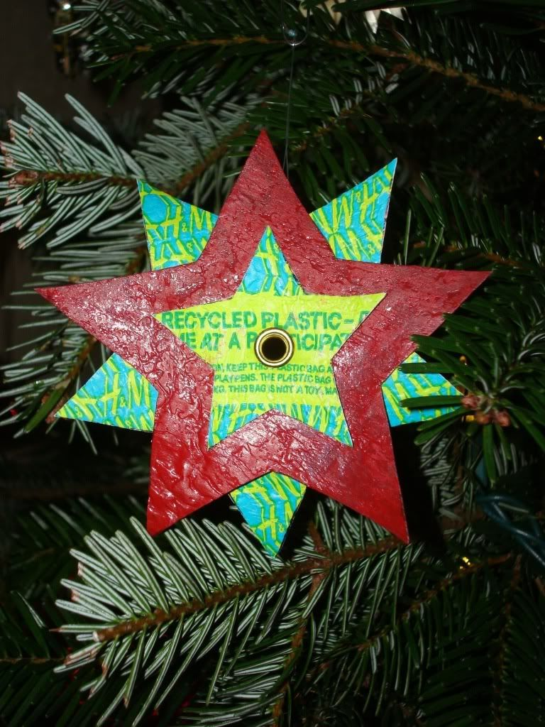 Fused Plastic Bag Star Ornaments Occasions And Holidays Fused Plastic Star Ornament Christmas Ornaments