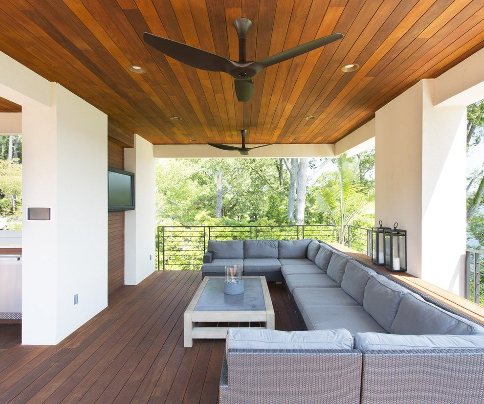 Big Ceiling Fan Patio Contemporary With Wood Slat Wall Wood Coffee Table Gray Outdoor Cushions Patio Outdoor Fans Patio Contemporary Patio