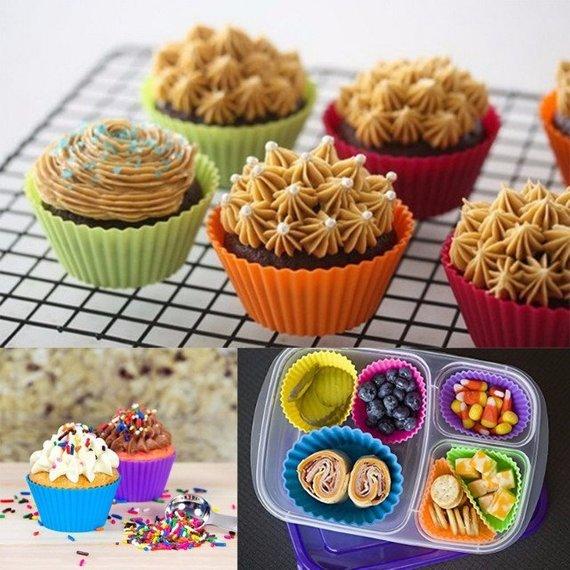 12pcs Round Silicone Cake Muffin Chocolate Cupcake Liner Baking