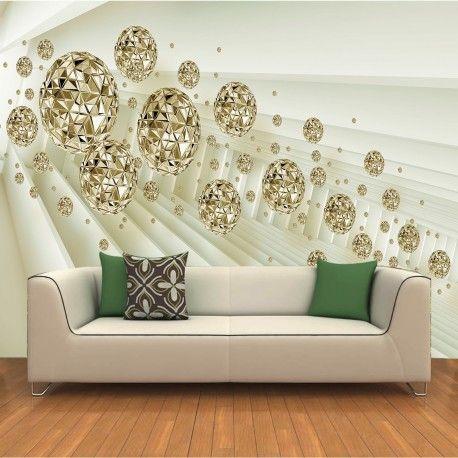 vlies fototapeten 3d abstrakten raum goldenen kn 1036 dekorationshop pinterest vlies. Black Bedroom Furniture Sets. Home Design Ideas