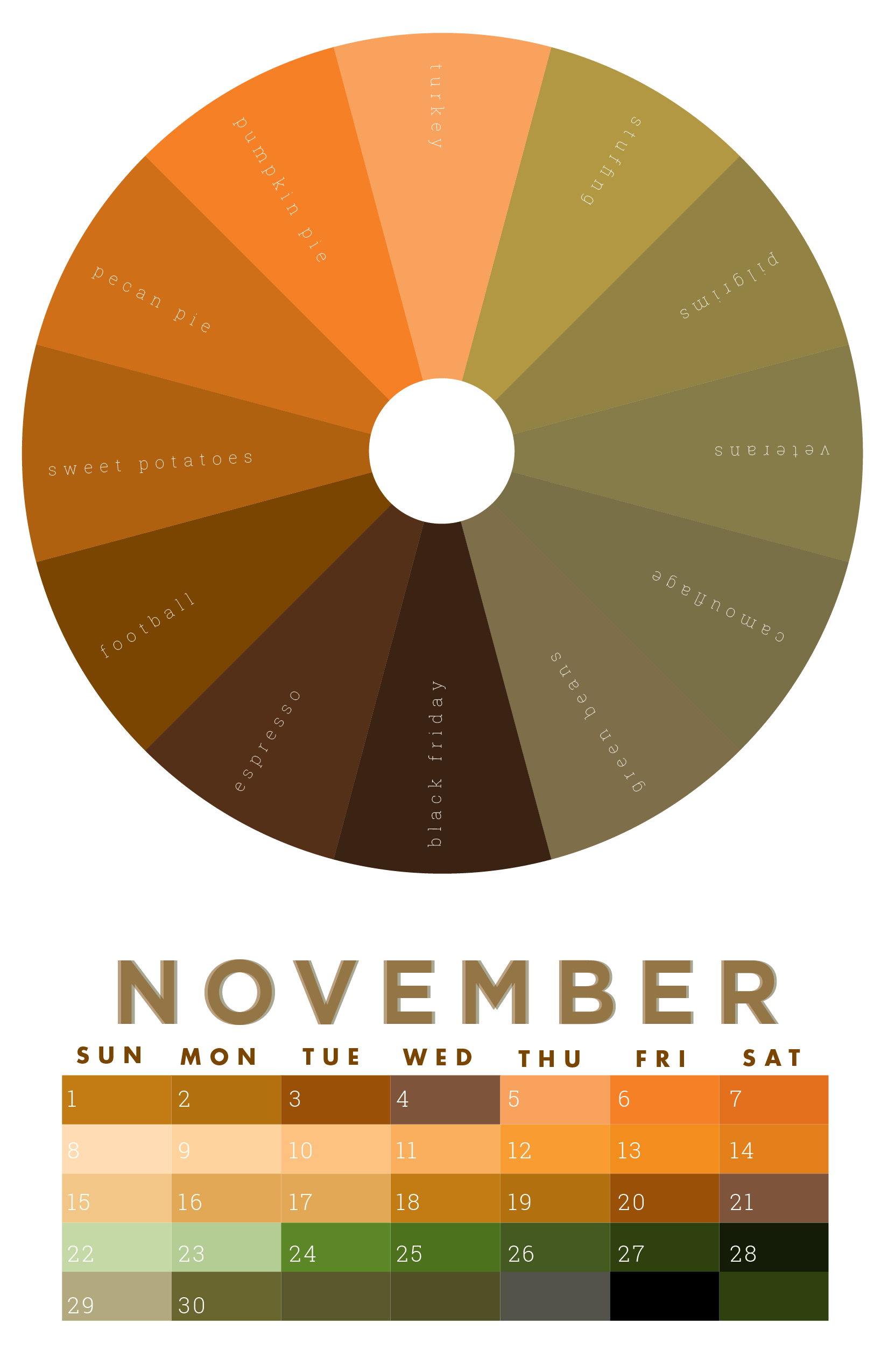 5aba896b The colors of November | 2015 Chromophilia Color Wheel Calendar in ...