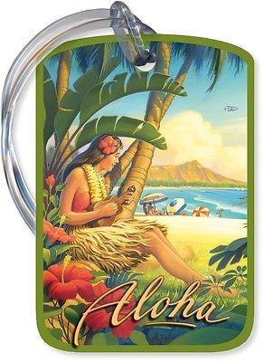 Aloha Ukulele Hawaiian Luggage Tag Vintage Hawaii