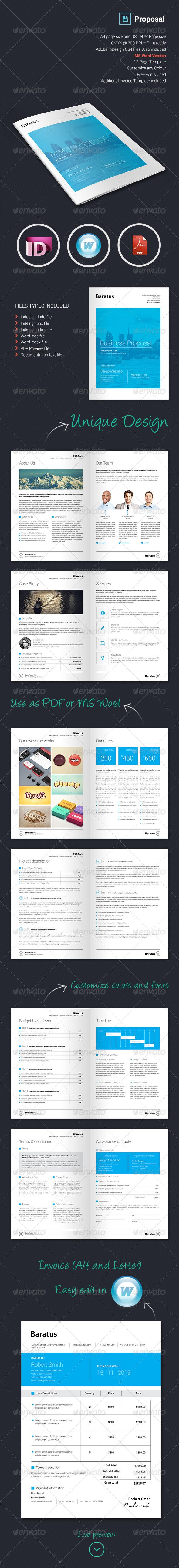 Ms Word Proposal Template Baratus  Proposal & Invoice Template  Business Project Proposals .