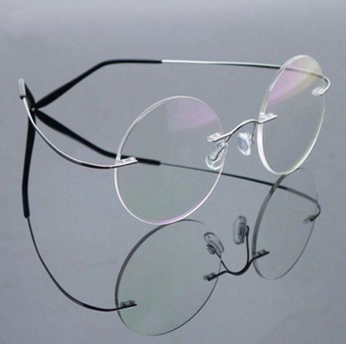 b82ee6c50d Silver Pure Titanium Rimless Vintage STEVE Round Flex Optical Eyeglasses  men titanium over sunglasses non prescription baby Frame Eyewear Rx