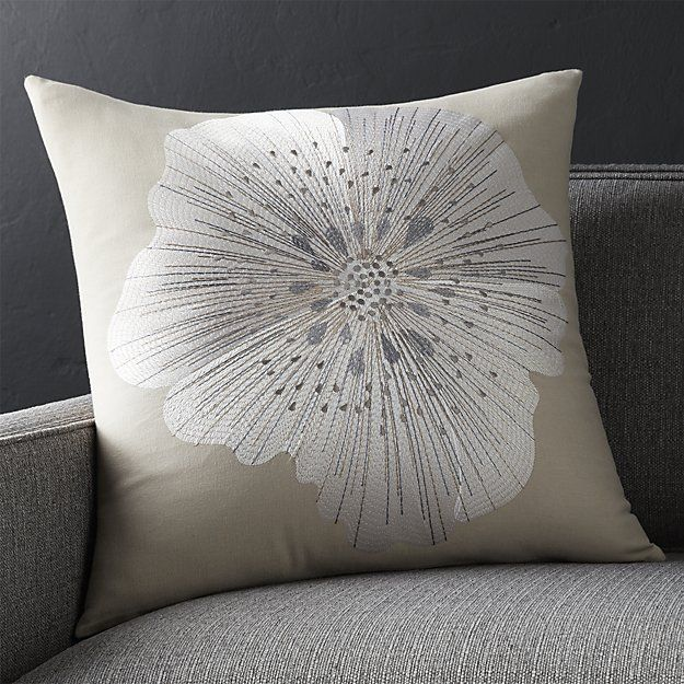 Bloom Frost 20' Pillow with Feather-Down Insert | Crate and Barrel