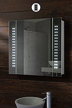 My Furniture Battery Led Illuminated Bathroom Mirror Cabinet