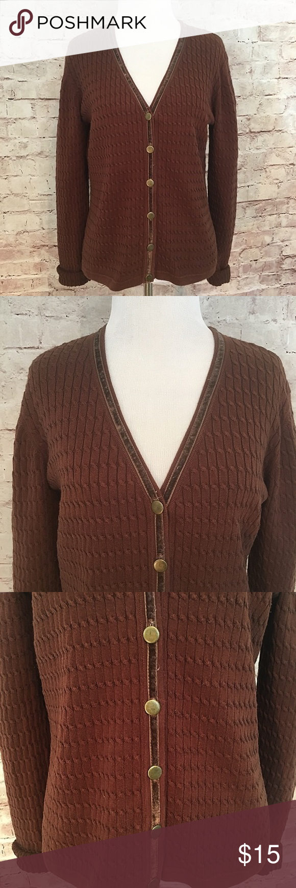 Foxcroft Cardigan with Velvet Trim | Chocolate brown and Flaws