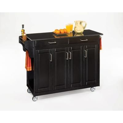 Home Styles Create A Cart Black Finish Black Granite Top