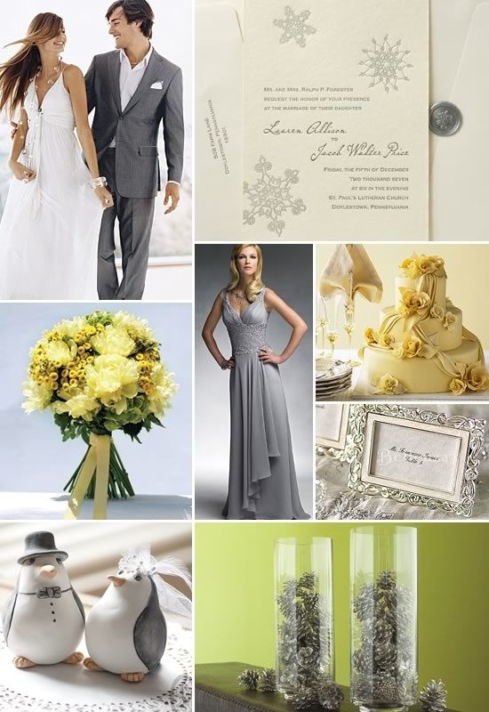 A Winter Grey and Yellow Wedding | Yellow & Grey Theme Wedding ...