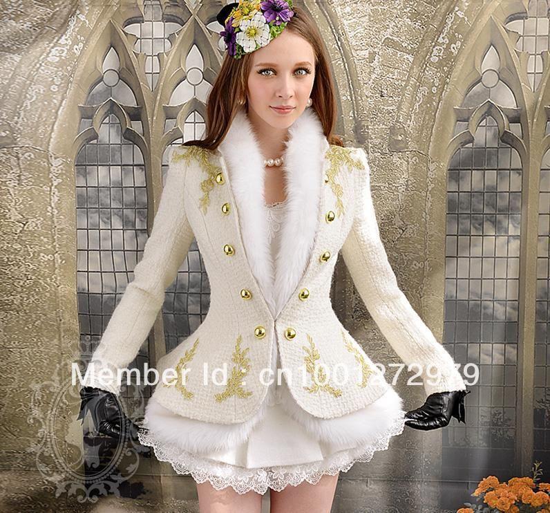 White Gold Embroidered Woolen Short Jacket