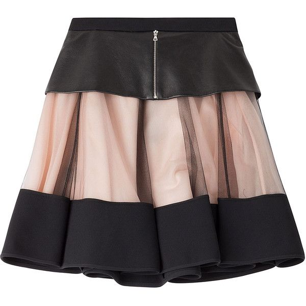 David Koma Flared Skirt (6.444.700 IDR) ❤ liked on Polyvore featuring skirts, dresses, gonne, black, real leather skirt, leather flare skirt, knee length leather skirt, leather circle skirt and skater skirts