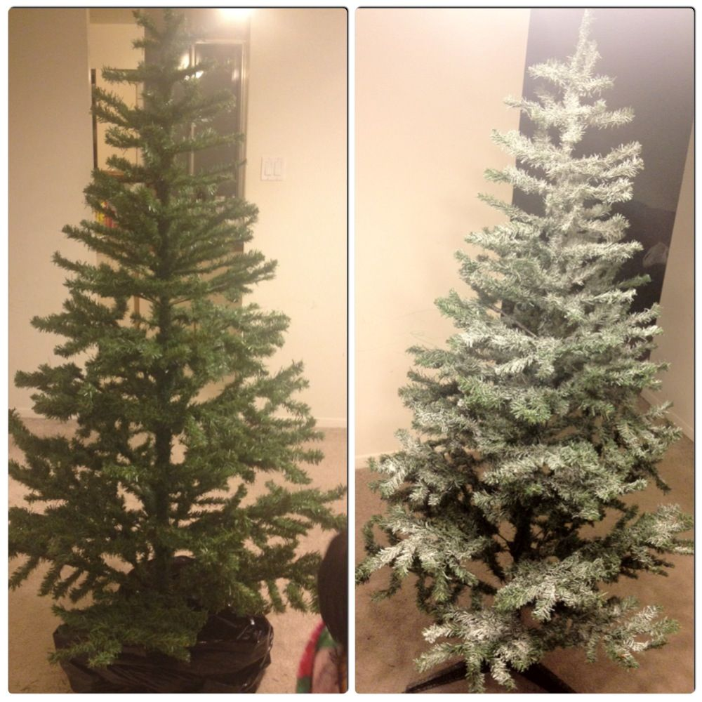 Used Spray Paint Snow Effect N Sparkle Christmas Tree Painting Christmas Tree Spray Flocked Christmas Trees