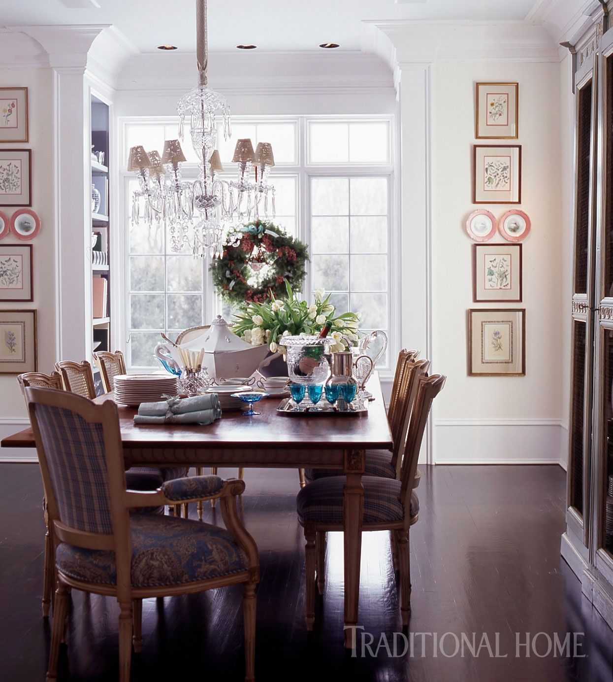 A Waterford Chandelier Glamorizes The Dining Room