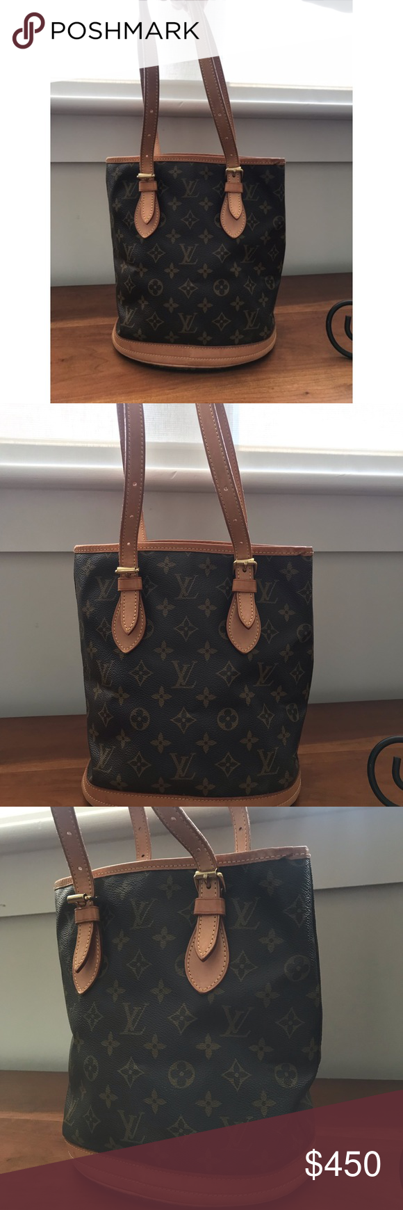 0619debedde Louis Vuitton bag LV vintage bucket bag. Adjustable straps. Signs of wear  are on