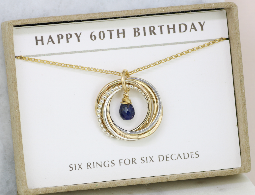 60th Birthday Gift September For Blue Sapphire Necklace Wife Mom