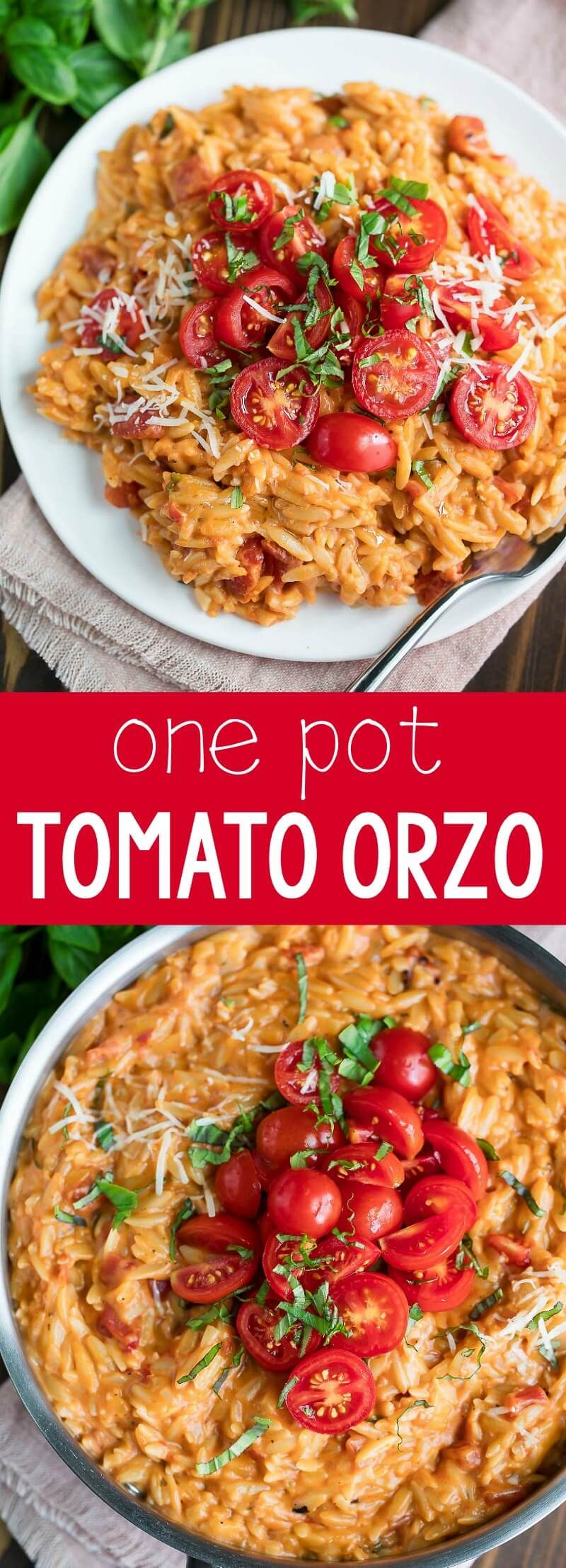 Creamy Tomato Orzo - Peas and Crayons #dinnersidedishes
