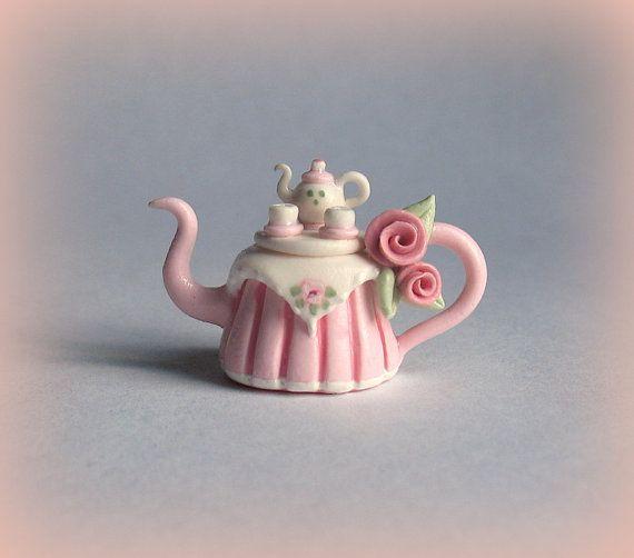 Miniature Tea TableTeapot OOAK by C. Rohal by ArtisticSpirit