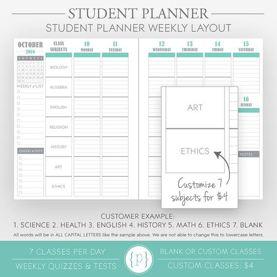 2015 Student Planner by PlumPaperDesigns on Etsy Wish List - sample student agenda