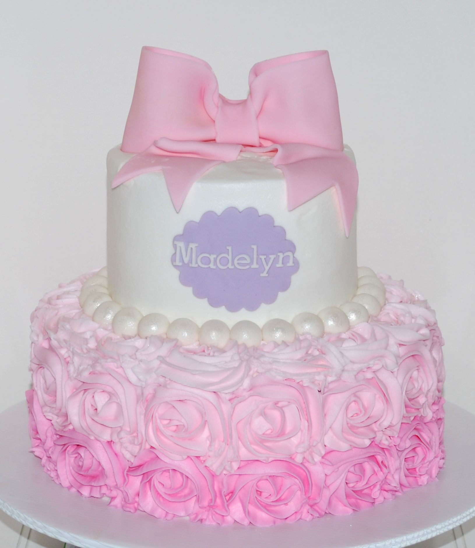 Pink Ombre Buttercream Rose Baby Shower Cake NutMeg Confections
