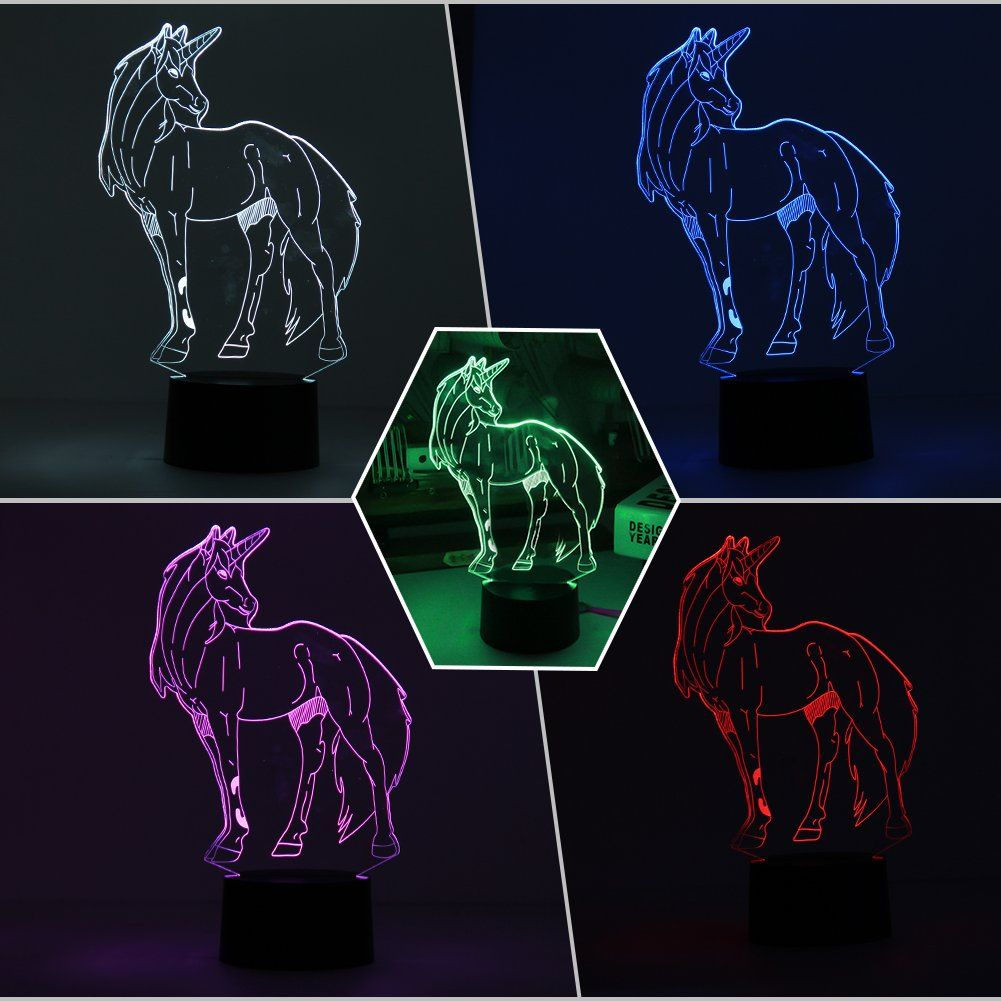 Frightening Halloween Decorations 3d Lamp Unicorn Night Light Touch Table Desk Lamp 7 Color Ch Battery Operated Lights Christmas Gift Decorations Touch Table