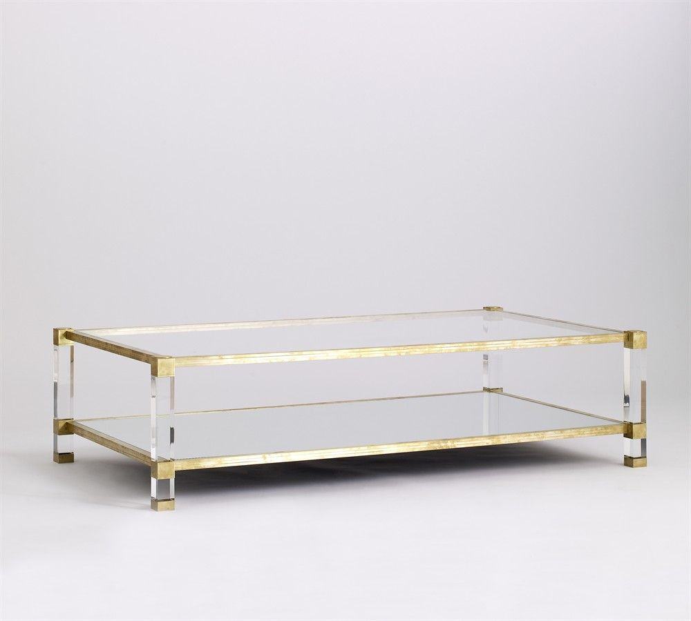 Superieur Coffee Table, Lucite, Brass