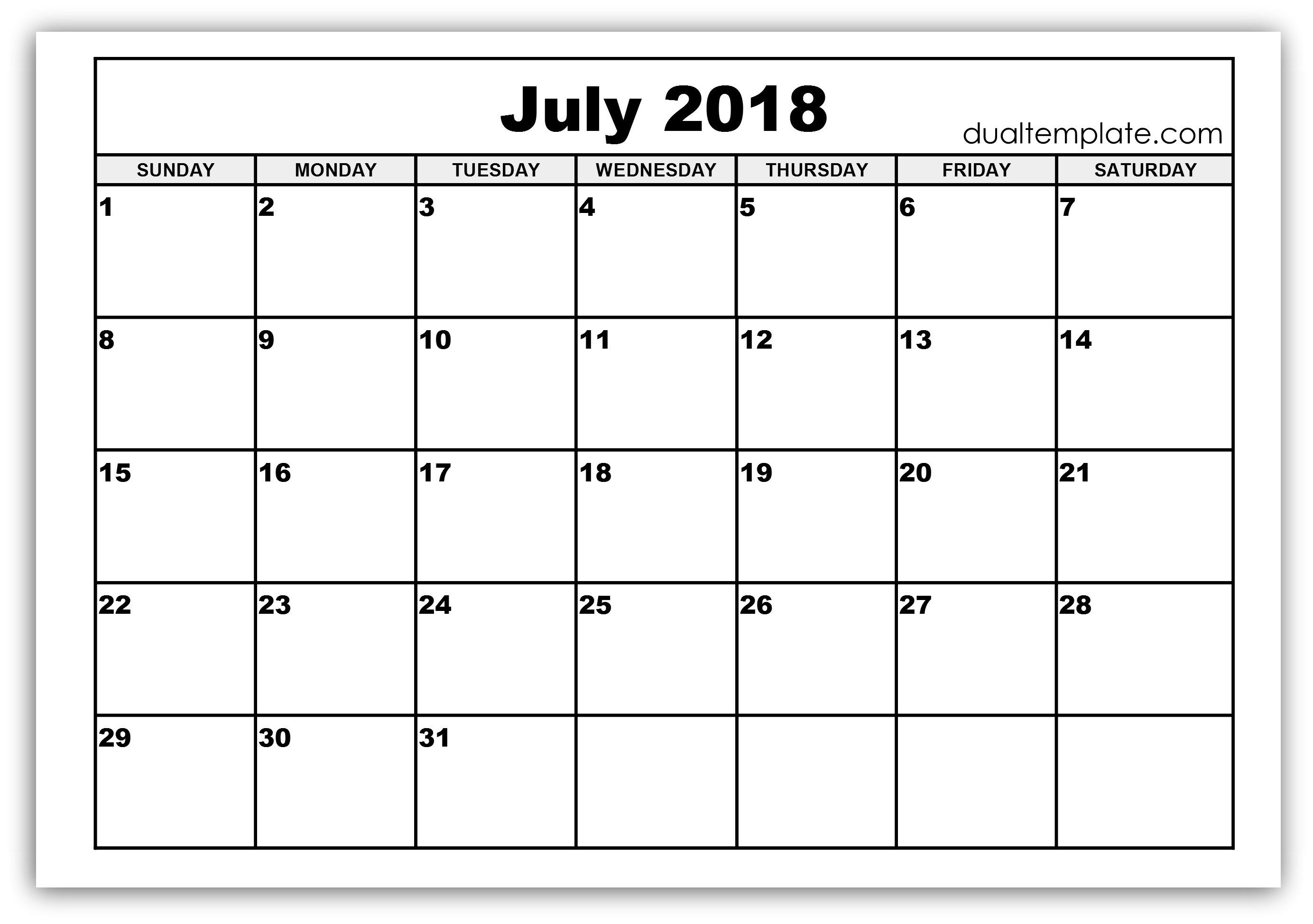 Pin by Akhil Sharma on July 2018 Calendar Printable Template
