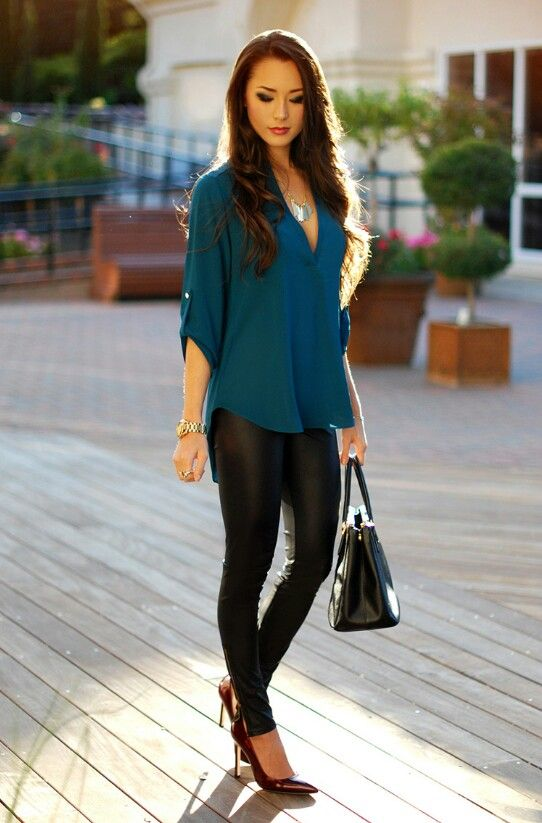 Shop Sosie teal top and Pacsun leggings. Need those leather leggings!